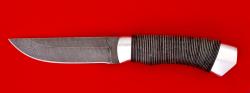 Охотничий нож Бурундук, клинок дамасская сталь, рукоять кожа, металл