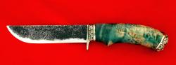 Охотничий нож Грибник-2, ручная ковка, клинок сталь 9ХС, рукоять стабилизированный кап (зеленый), мельхиор