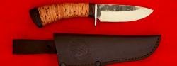 Охотничий нож Соболь-2, клинок сталь 95Х18 со следами ковки, рукоять береста