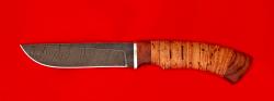 Нож Грибник, клинок дамасская сталь, рукоять береста