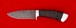 """Охотничий нож """"Соболь-2"""", клинок дамасская сталь, рукоять кожа, металл"""