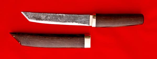 """Нож """"Самурай большой"""", ручная ковка, клинок сталь 9ХС, рукоять венге, деревянный чехол"""