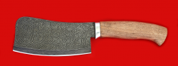Нож Тяпка, клинок дамасская сталь, рукоять орех