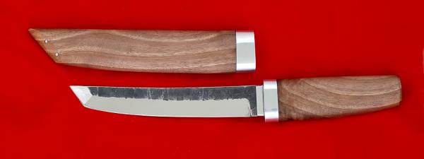 """Нож """"Самурай большой"""", клинок сталь 95Х18 со следами ковки, рукоять орех, деревянный чехол"""