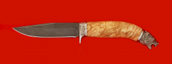Нож Сокол, клинок дамасская сталь, рукоять карельская берёза, мельхиор
