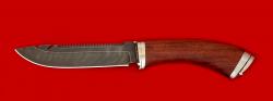Нож Рыбацкий, клинок дамасская сталь, рукоять бубинга, мельхиор