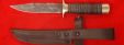 """Нож """"Разведчик"""", клинок дамасская сталь, рукоять кожа, латунь"""