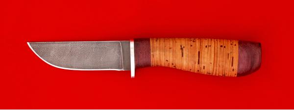 """Нож """"Дорожный"""", клинок дамасская сталь, рукоять береста"""