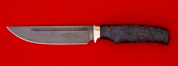 """Нож """"Дракон"""", клинок дамасская сталь, рукоять стабилизированная карельская береза"""