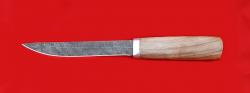 Нож Якутский большой, клинок дамасская сталь, рукоять орех