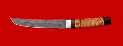 Нож Самурай большой, клинок дамасская сталь, рукоять береста