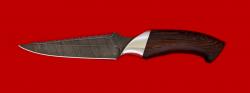 Нож Аллигатор, клинок дамасская сталь, рукоять венге