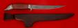 """Филейный нож """"Судак большой"""", клинок дамасская сталь, рукоять бубинга, мельхиор"""