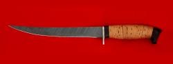 Филейный нож Судак большой, клинок дамасская сталь, рукоять береста
