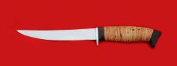 Филейный нож Судак средний, клинок сталь 65Х13, рукоять береста
