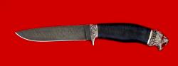 Охотничий нож Леопард, клинок дамасская сталь, рукоять кожа, мельхиор