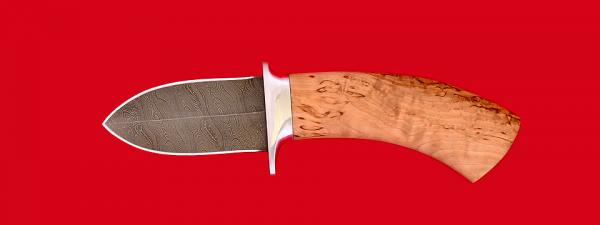 """Охотничий нож """"Барс"""", клинок дамасская сталь, рукоять карельская береза"""