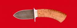 Охотничий нож Барс, клинок дамасская сталь, рукоять карельская береза