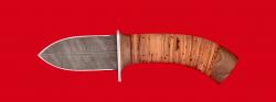 Охотничий нож Барс, клинок дамасская сталь, рукоять береста
