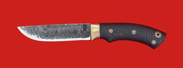 """Нож """"Грибник"""" цельнометаллический, сталь 9ХС, рукоять карбон, фигурные штифты"""
