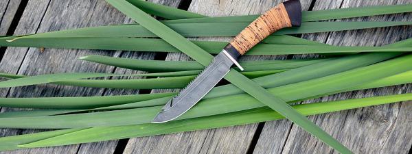 """Нож """"Рыбацкий-2"""", клинок дамасская сталь, рукоять береста"""