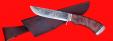 """Охотничий нож """"Грибник-2"""" (вариант 2), ручная ковка, клинок сталь 9ХС, рукоять стабилизированный кап (цвет коричневый), мельхиор"""