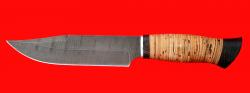 Нож Промысловый большой, клинок дамасская сталь, рукоять береста