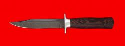 Нож Разведчик, клинок дамасская сталь, рукоять венге