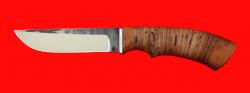 Нож Грибник, клинок сталь 95Х18 со следами ковки, рукоять береста
