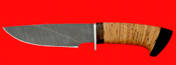 Охотничий нож Рысь-3, клинок дамасская сталь, рукоять береста