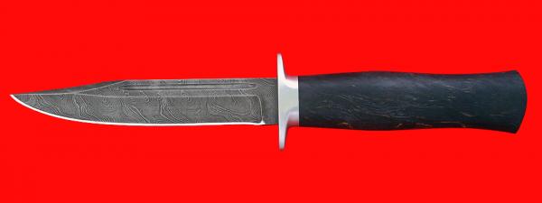 """Нож """"Разведчик"""", клинок дамасская сталь, рукоять стабилизированная карельская береза (цвет черный)"""