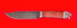 Нож Таёжный большой, клинок дамасская сталь, рукоять бубинга, мельхиор