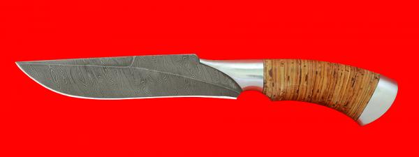 """Нож """"Питон"""", клинок дамасская сталь, рукоять береста, металл"""