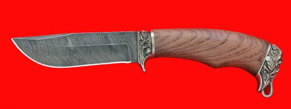"""Подарочный нож """"Филин"""", клинок дамасская сталь, рукоять бубинга, мельхиор"""