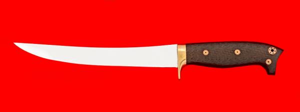 """Филейный нож """"Судак большой"""", цельнометаллический, клинок сталь 65Х13, рукоять карбон, фигурные штифты"""
