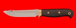Нож Рыбацкий-3, клинок сталь 95Х18, цельнометаллический, рукоять карбон, фигурные штифты