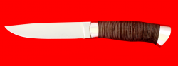 Охотничий нож Леопард, клинок сталь 65Х13, рукоять кожа, метал
