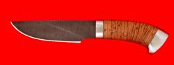 Охотничий нож Рысь, клинок дамасская сталь, рукоять береста, металл