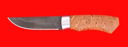 Охотничий нож Бурундук, клинок сталь Х12МФ, рукоять карельская берёза