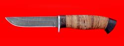 Охотничий нож Финский, клинок дамасская сталь, рукоять береста