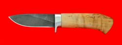 Охотничий нож Сурок, клинок дамасская сталь, рукоять карельская берёза