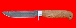 Нож Рыбацкий-3, клинок дамасская сталь, рукоять карельская берёза, усиленная гарда