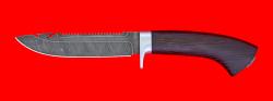 Нож Рыбацкий-2, клинок дамасская сталь, рукоять венге, усиленная гарда