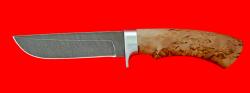 Охотничий нож Грибник-2, клинок дамасская сталь, рукоять карельская берёза