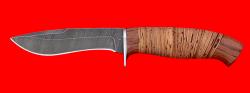 Охотничий нож Вальдшнеп-2, клинок дамасская сталь, рукоять береста