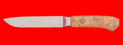 Нож Карачаевский (Бычак), клинок сталь ELMAX, рукоять стабилизированная карельская береза (цвет натуральный)