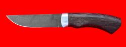 Охотничий нож Бурундук, клинок дамасская сталь, рукоять венге