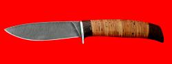 Нож Рыбка-2, клинок дамасская сталь, рукоять береста