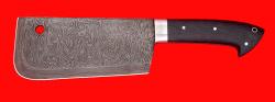 Нож Тяпка мясницкая, цельнометаллическая, клинок дамасская сталь, рукоять венге