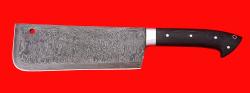 Нож Тяпка мясницкая удлиненная, цельнометаллическая, дамасская сталь, магнум